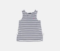 Kids Girls Scallop Lace Up Tank, Navy/White