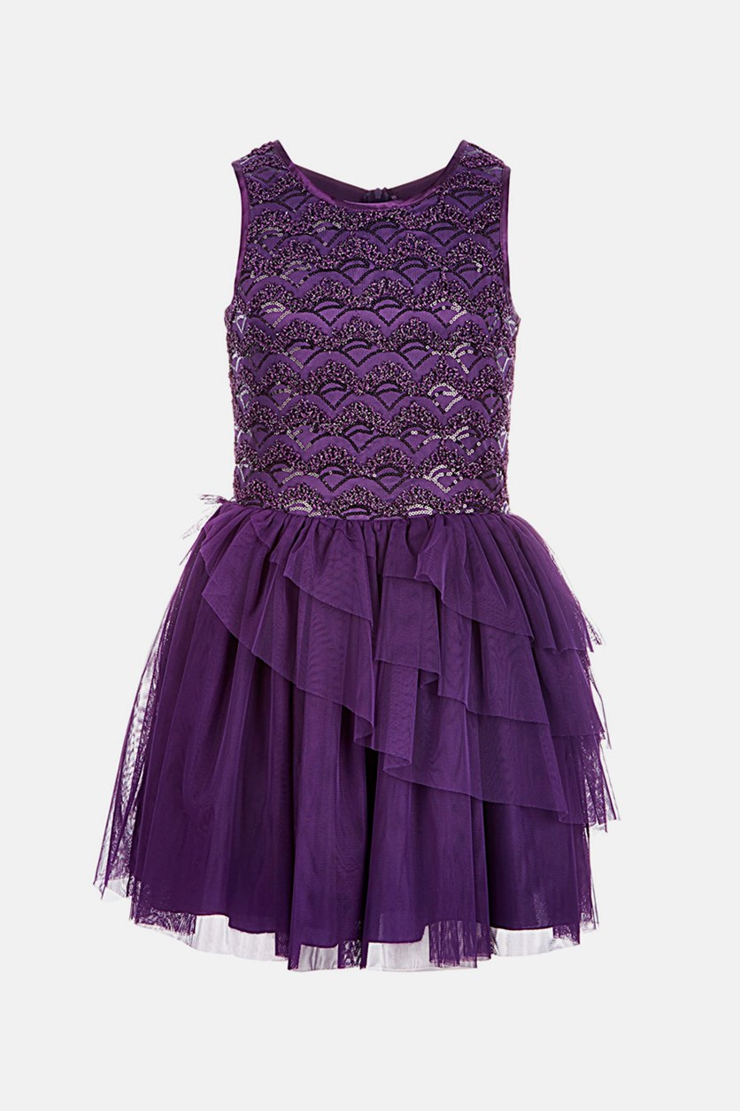 Big Girls Textured Dress, Purple
