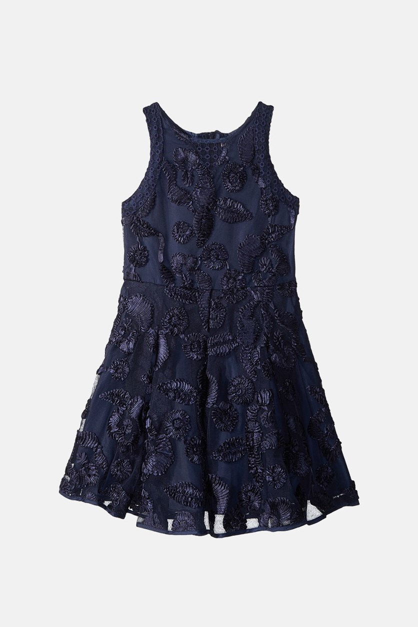 Big Girls Soutache Fit & Flare Dress, Navy