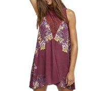 Free People Women's Marsha Floral Print Lace-Inset Mini Dress, Maroon