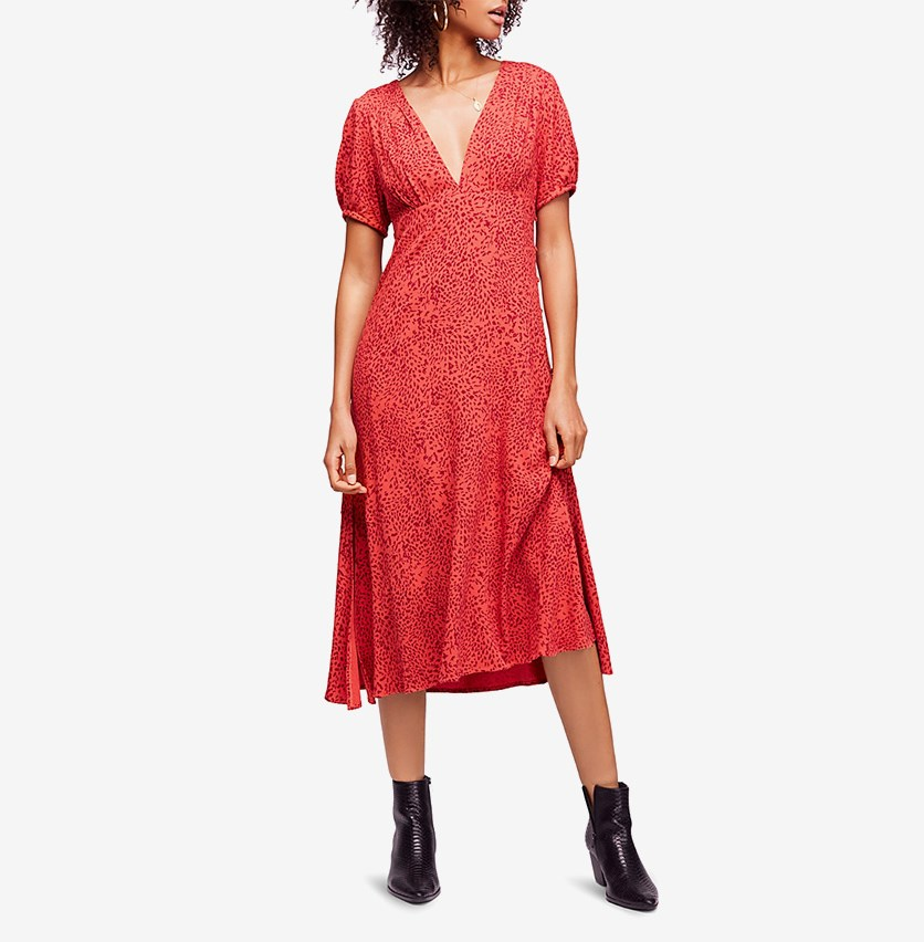 Looking For Love Printed Midi Dress, Flame Combo