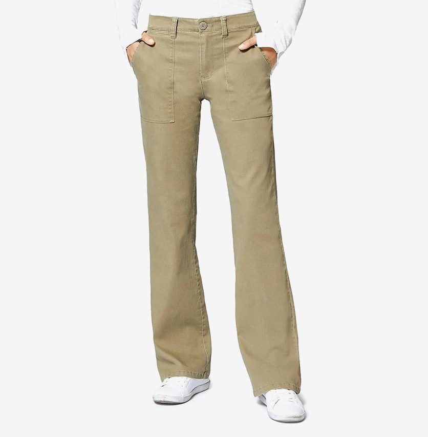 Sneaker Chino Denim Mid Rise Flare Jeans, Olive Green