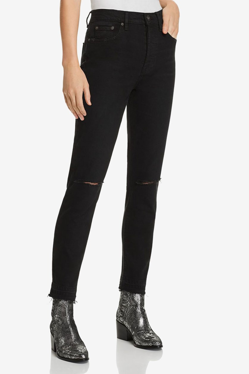 Womens Nico Denim Distressed Skinny Jeans, Black