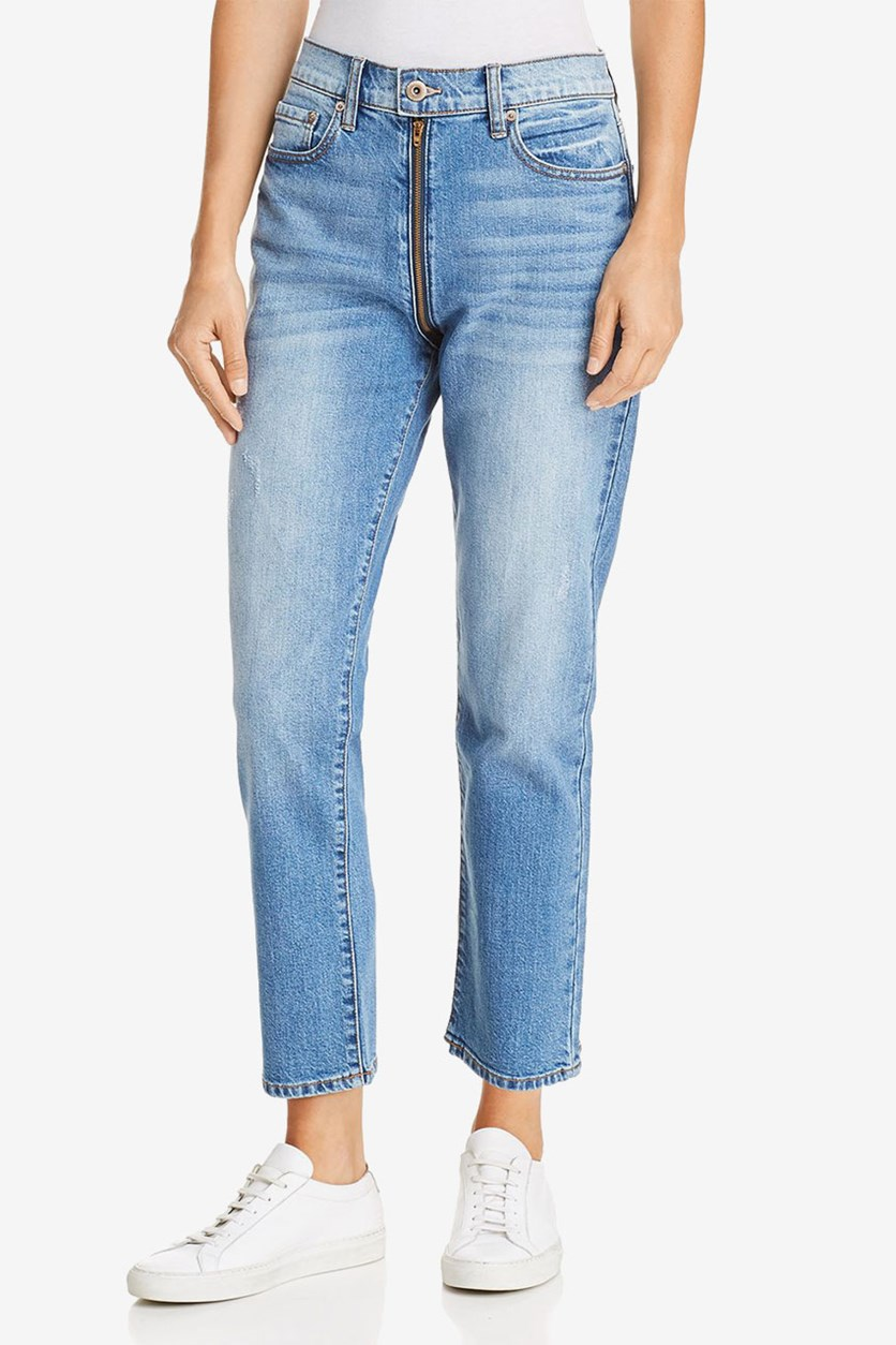 Womens Charlie Denim High-Rise Straight Leg Jeans, Open Blue