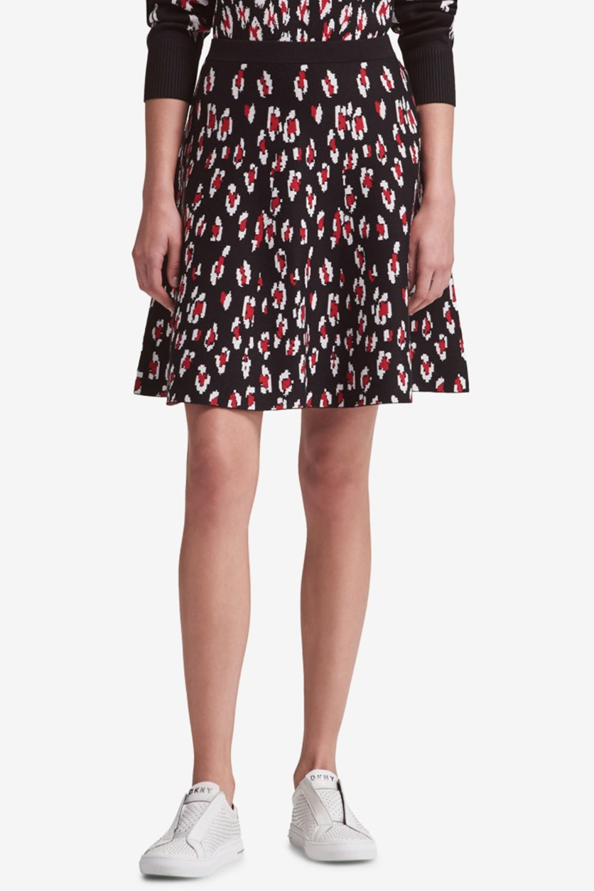 Womens Printed Pull On A-Line Skirt, Black Combo