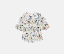 Beautees Butterfly-Print Ruffled Top, Natural
