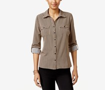 Ny Collection Petite Roll-Tab Utility Shirt, Stripe