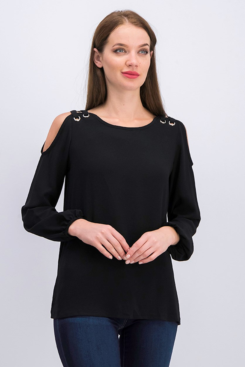 Womens Cold Shoulder Top, Black