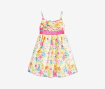Bonnie Jean Little Girls' Crossover-Bodice Floral-Print Dress, Pink Combo