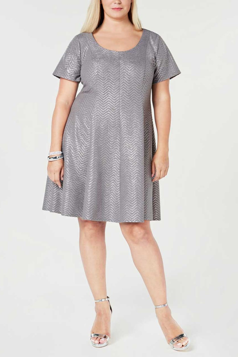 Signature by Robbie Bee Womens Plus Size Dress, Silver