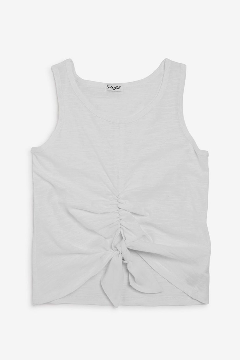 Girls' Ruched Tie-Front Tank, Off White