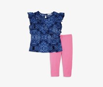 Splendid Girls' Ruffled Top & Leggings Set, Navy/Pink