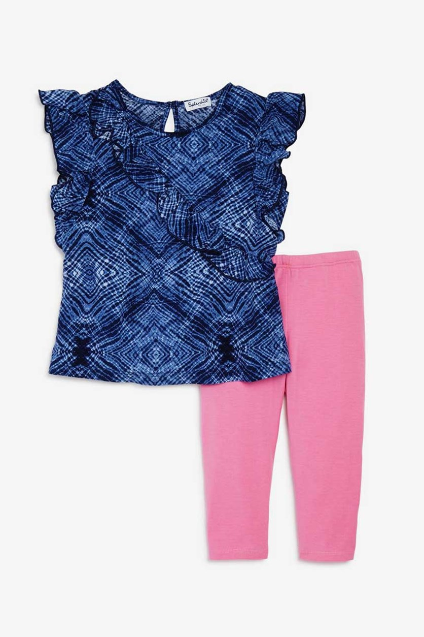 Girls' Ruffled Top & Leggings Set, Navy/Pink