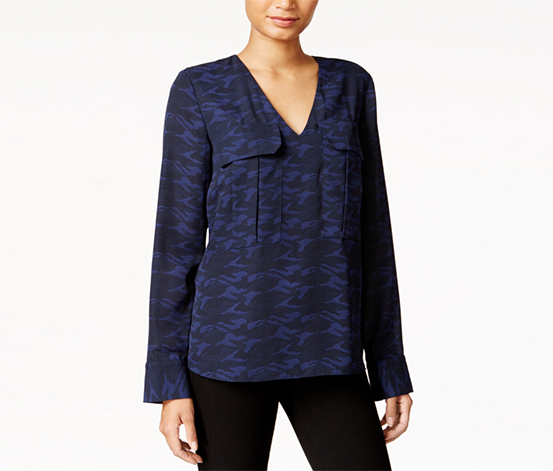 Rachel Roy Women's Printed Utility Blouse, Navy Blue