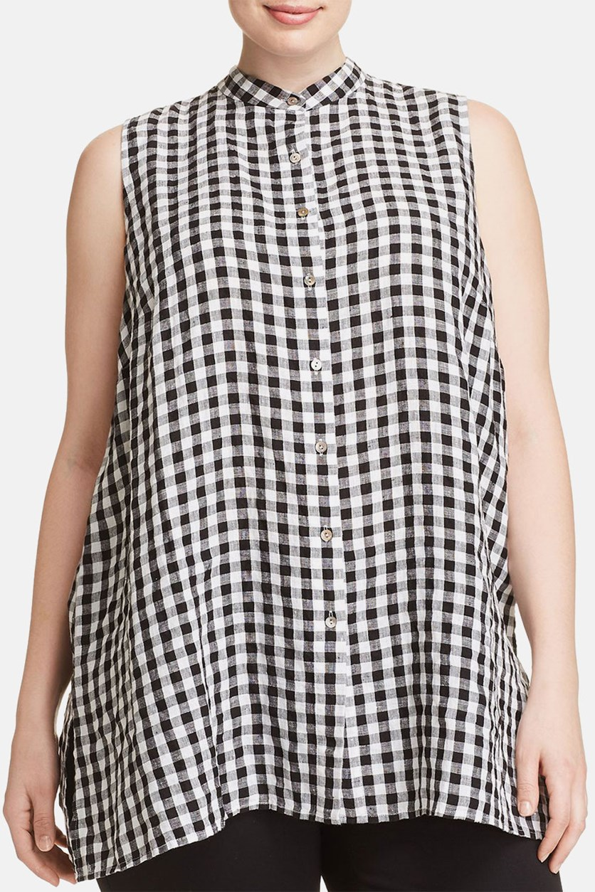 Plus Size Gingham Tunic, Black/White