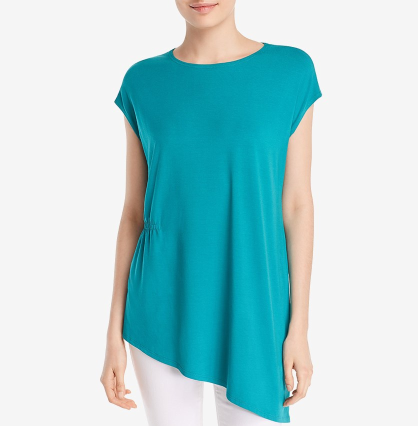 Gathered Asymmetric Top, Turquoise