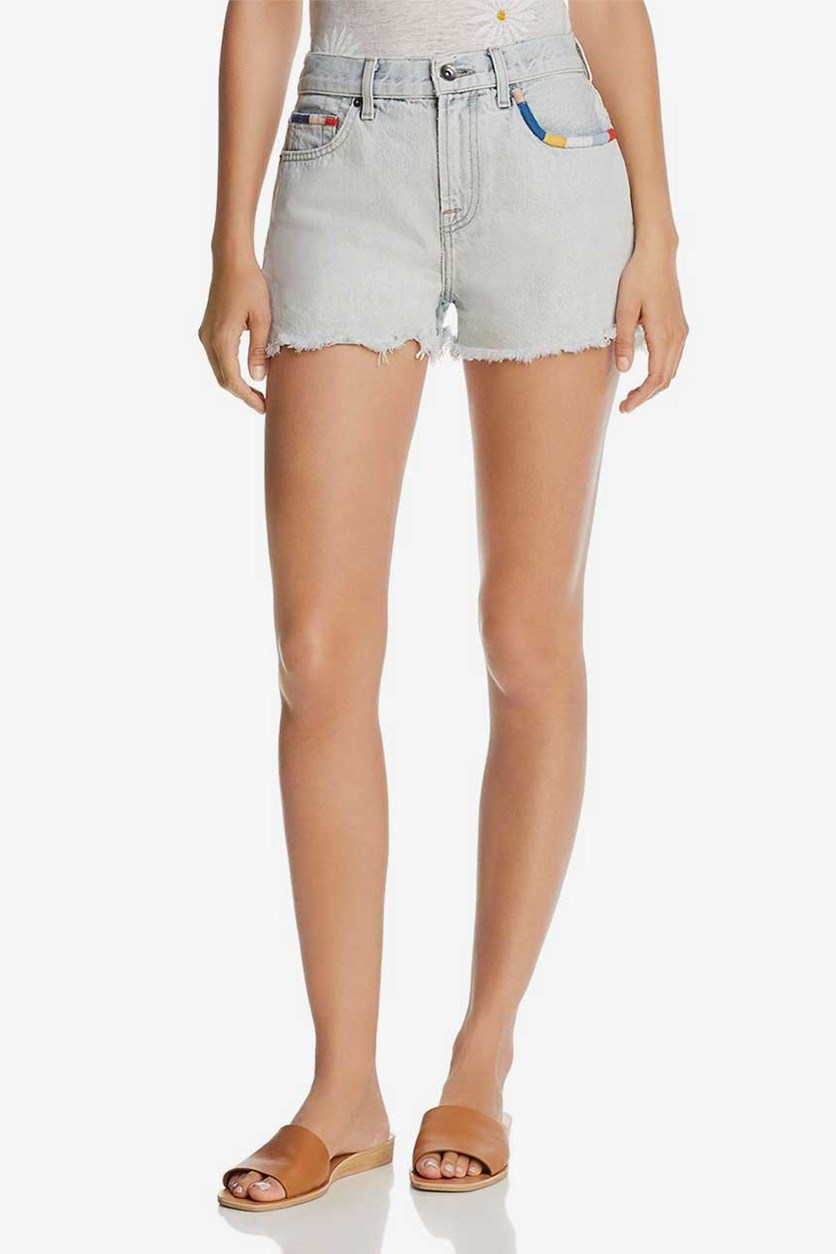 X Margherita Denim Shorts, Wash Blue