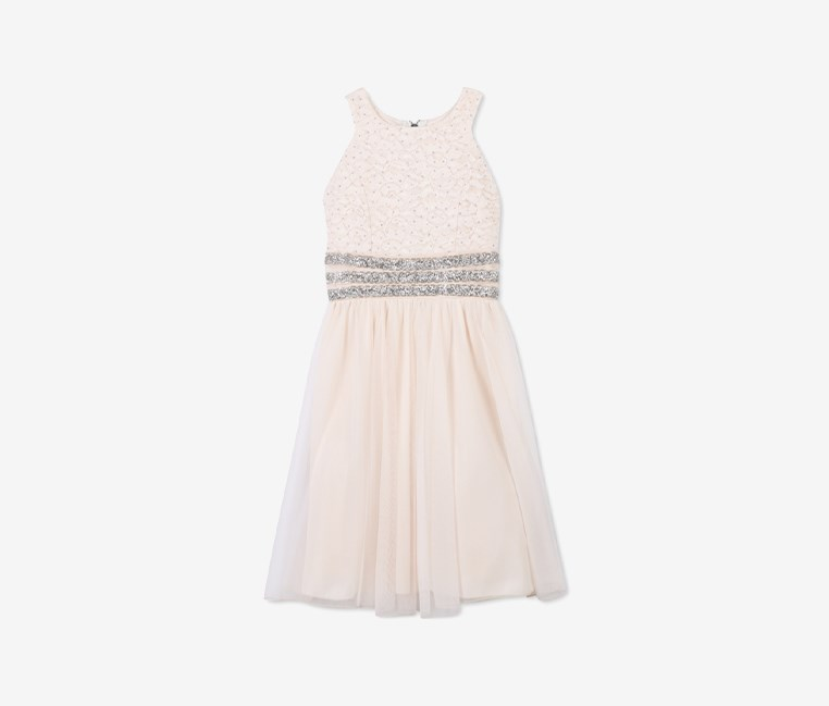 Glitter Lace Bodice Dress, Pale Blush