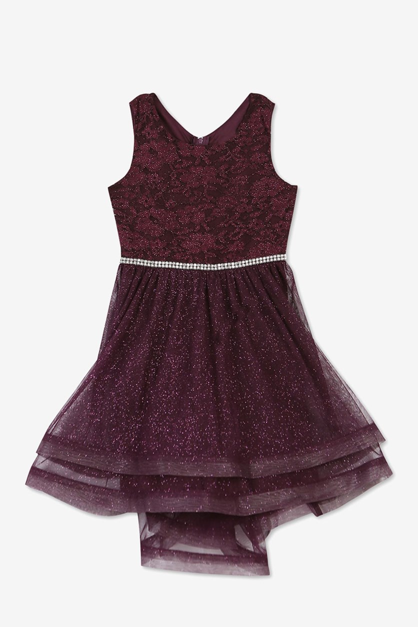 Little Girls Glitters Dress, Burgundy