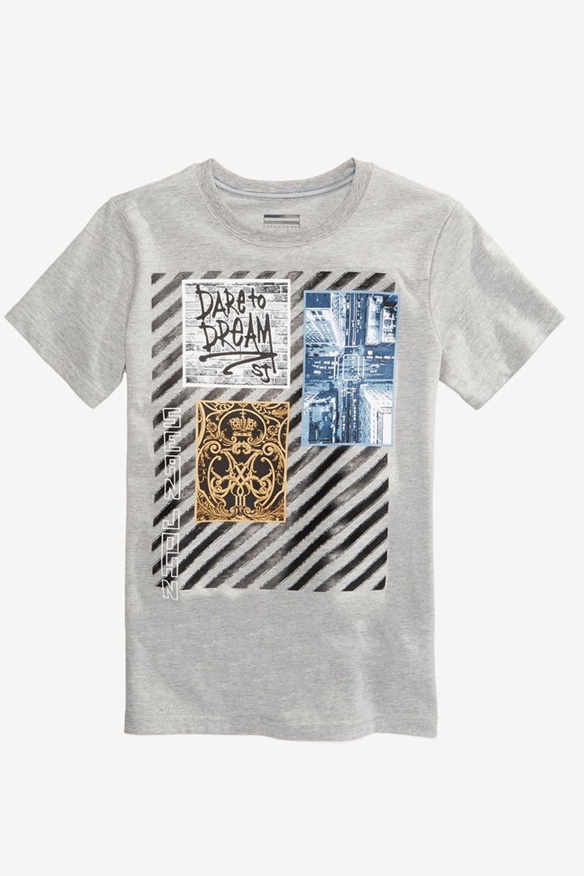 Dream Collage-Print T-Shirt, Mid Grey