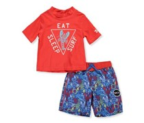 Skechers Boys' 2-Piece Swim Set Outfit, Red/Blue
