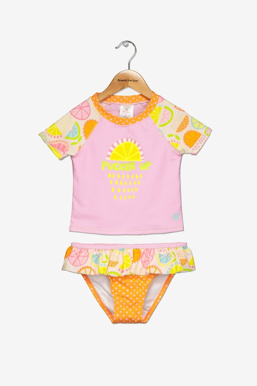 Girls Rash Guard Set, Citrus