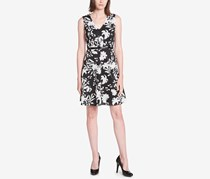 Tommy Hilfiger Women's Printed Illusion-Stripe Dress, Black
