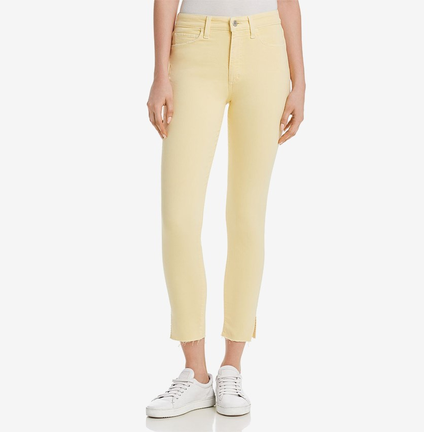 Womens the Charlie Denim Skinny Ankle Jeans, Pale Yellow