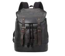 Troop London Coated Canvas Leather Backpack, Black