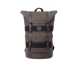 Troop London Canvas Leather Fold Top Backpack, Olive