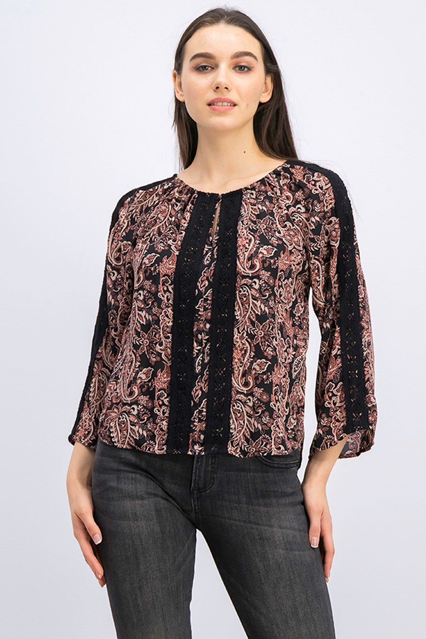 Women's Embroidered Allover Print Top, Black Combo