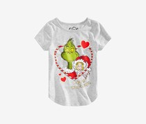 Dr. Seuss Kid's Girls Grinch Happy Who-lidays T-Shirt, Grey