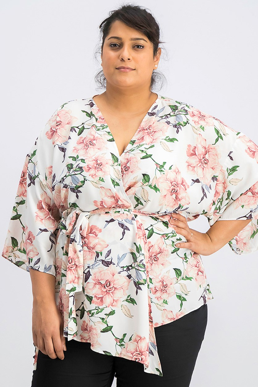 Women Floral Print Blouse, Ivory Combo
