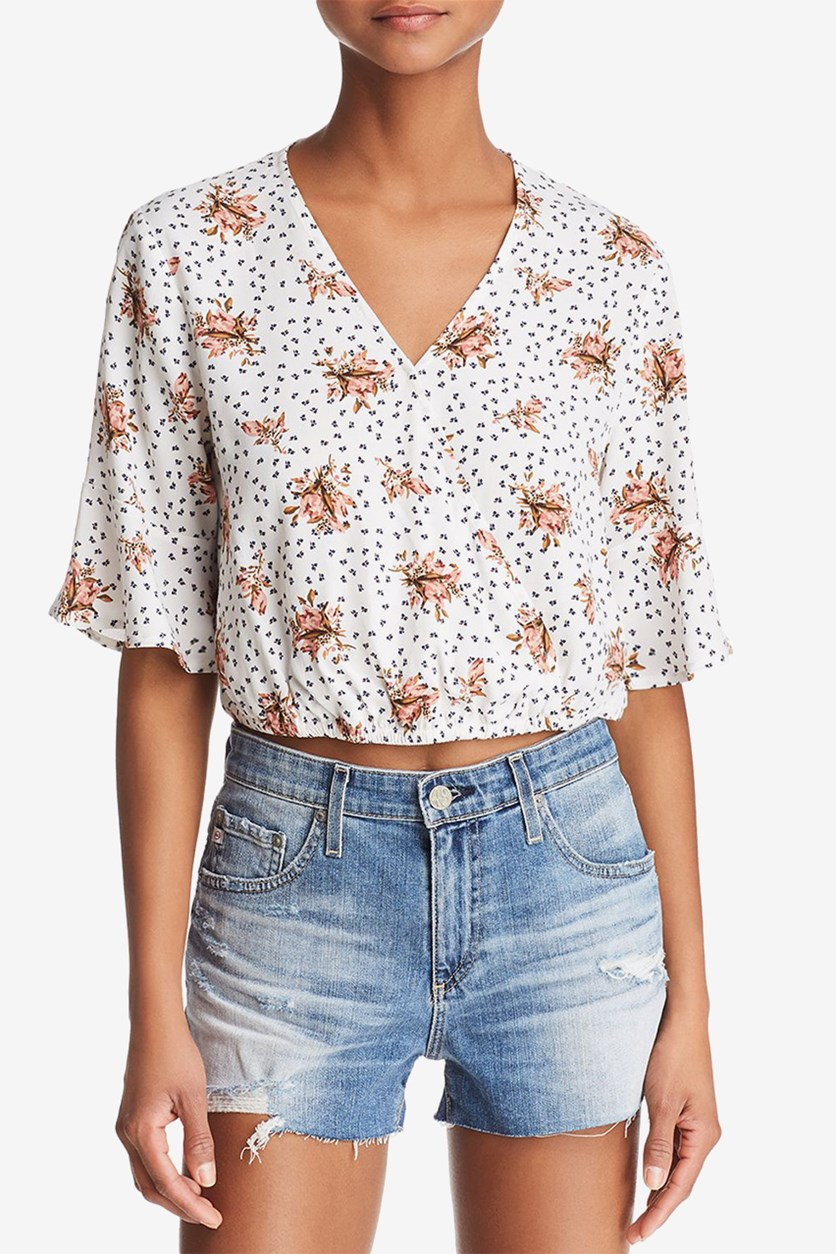 Womens Floral Print Top, Natural