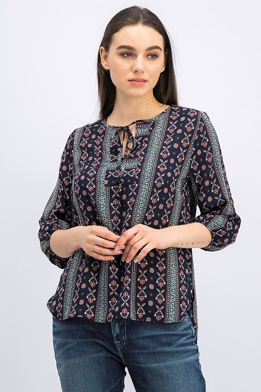Women's Allover Printed Top, Navy Combo