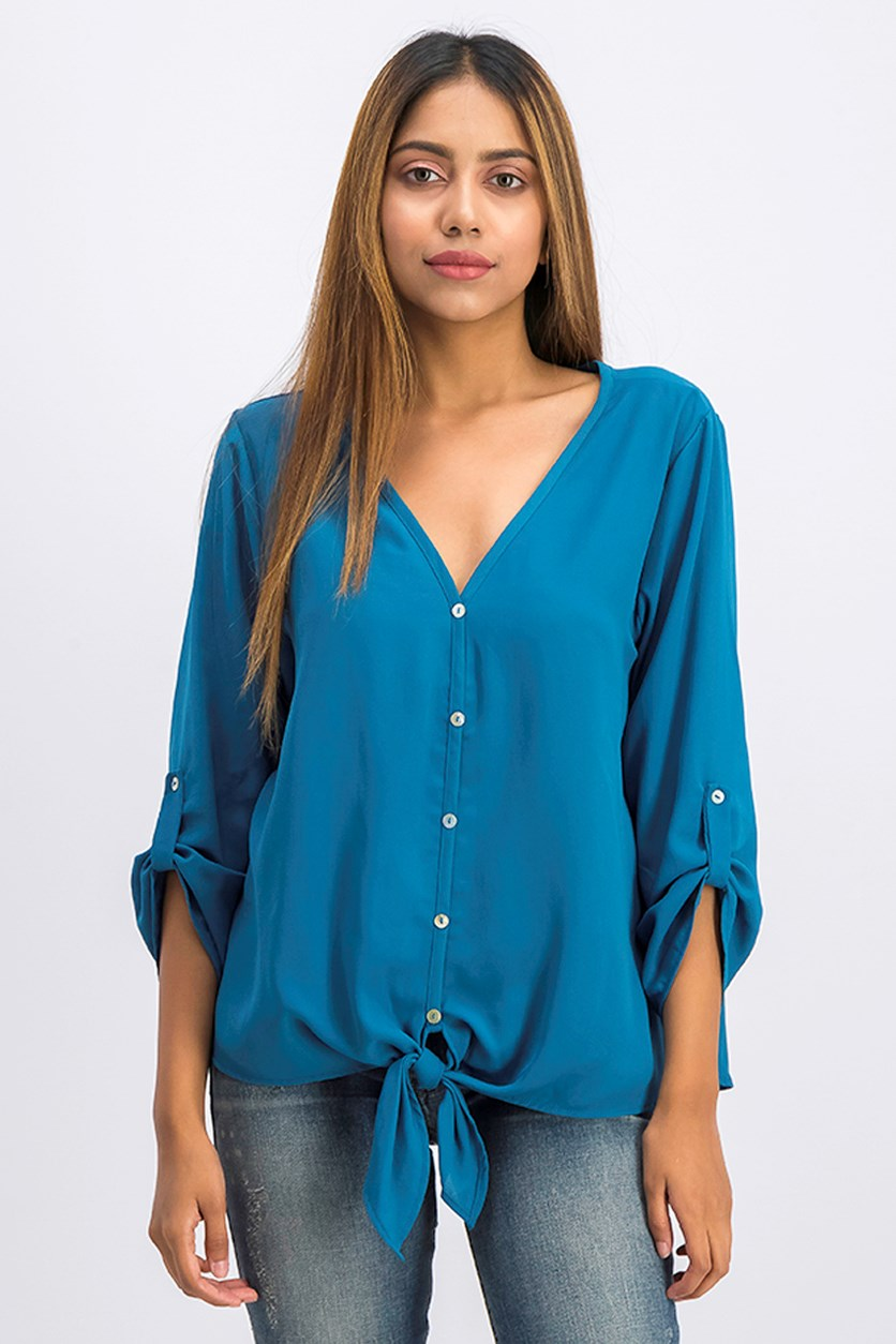 Women's V-Neck Blouse, Teal