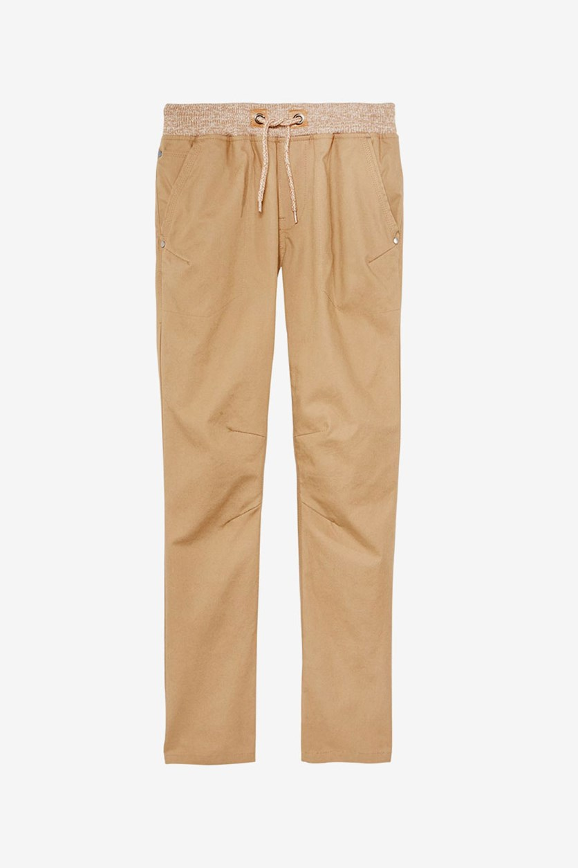 Elastic Waist Cotton Pants, Butternut