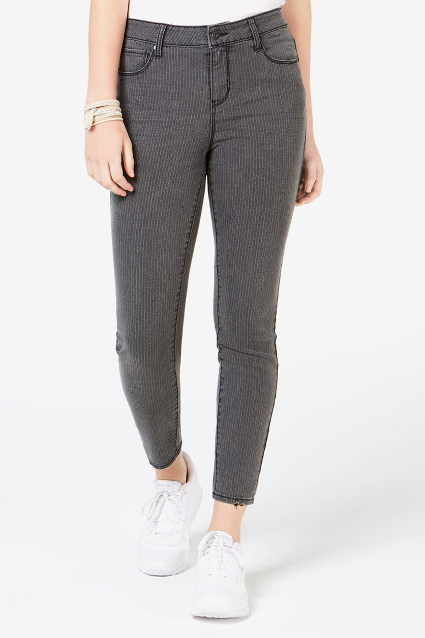 Juniors' Pin-Striped Skinny Ankle Jeans, Grey