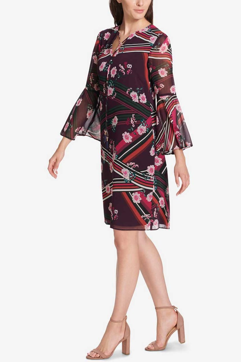 Floral Bell Sleeve Shift Dress, Maroon