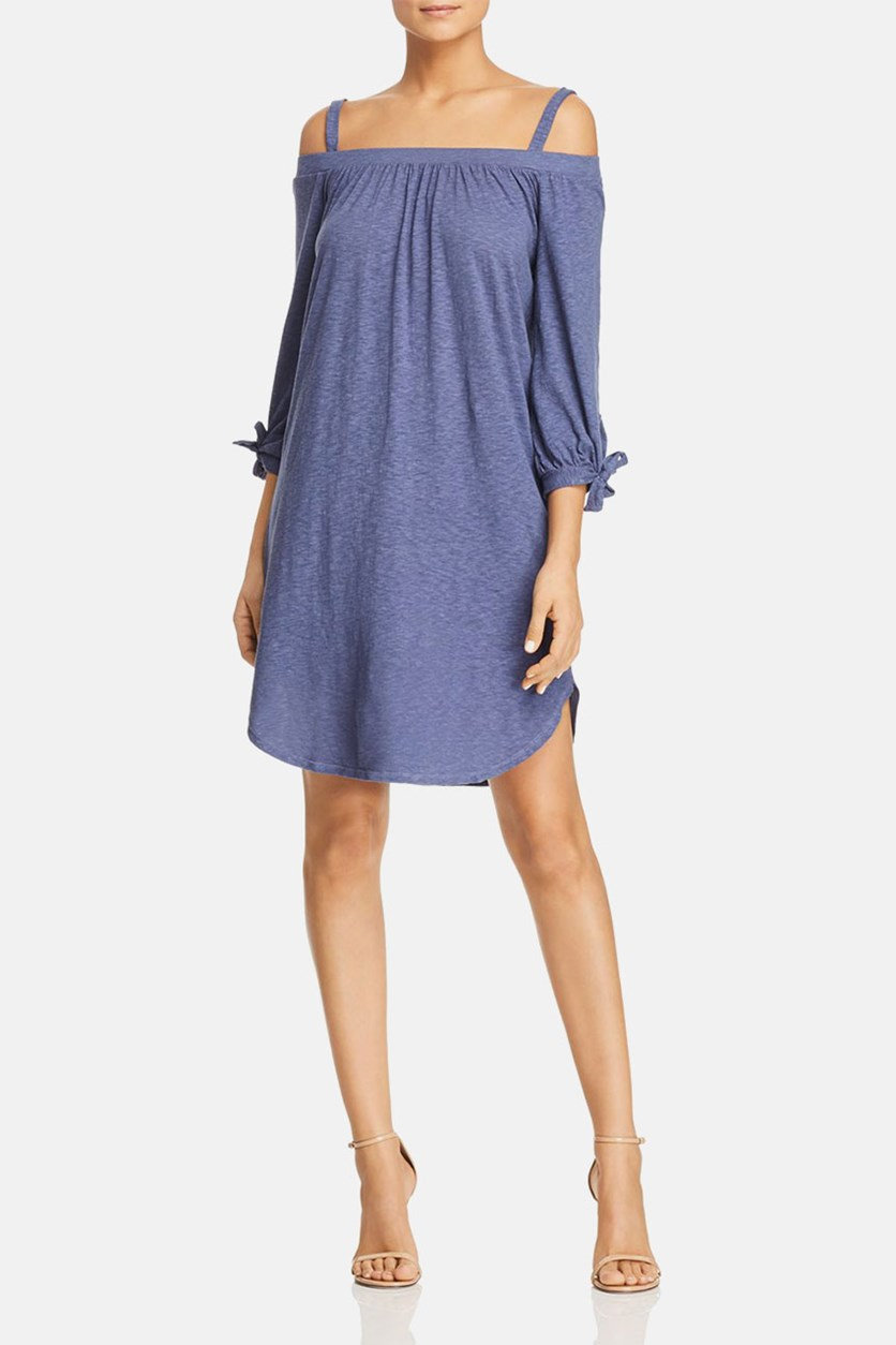 Cold-Shoulder Knit Dress, Dusty Blue