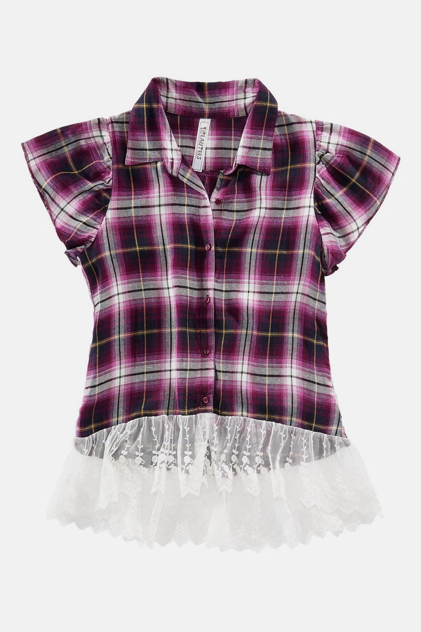 Big Girls Stripe Tops, Purple