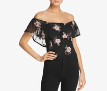 Band Of Gypsies Womens Embroidered Bodysuit, Black