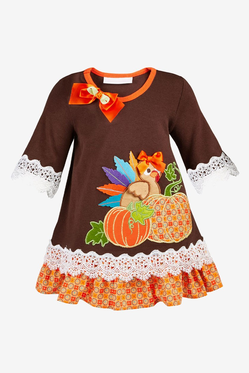 Baby Girls Lace-Trim Turkey Dress, Brown