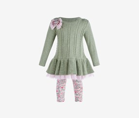 Baby Girls 2-Pcs. Cable-Knit Sweater & Floral Leggings Set, Green Combo