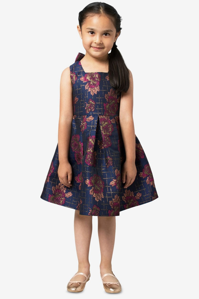 Little Girls Floral Jacquard Party Dress, Navy