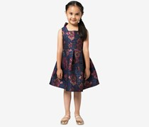 Toddler Girls Floral Jacquard Party Dress, Navy