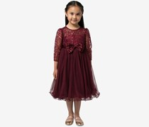 Little Girls Sequin Dress, Dark Red