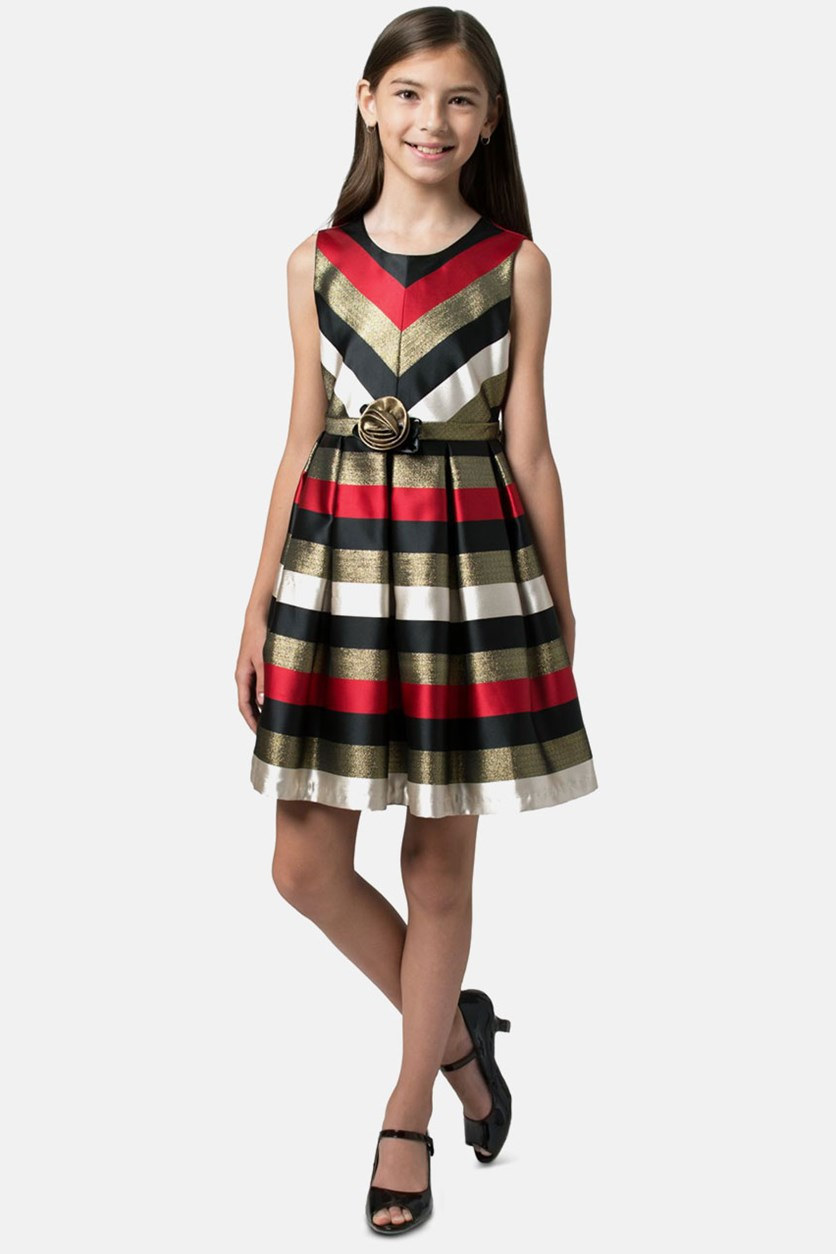 Girls Metallic Jacquard Striped Dress, Black/Red Combo