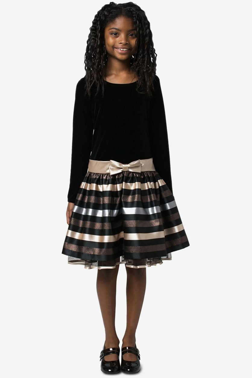 Big Girls Velvet Jacquard Striped Dress, Black