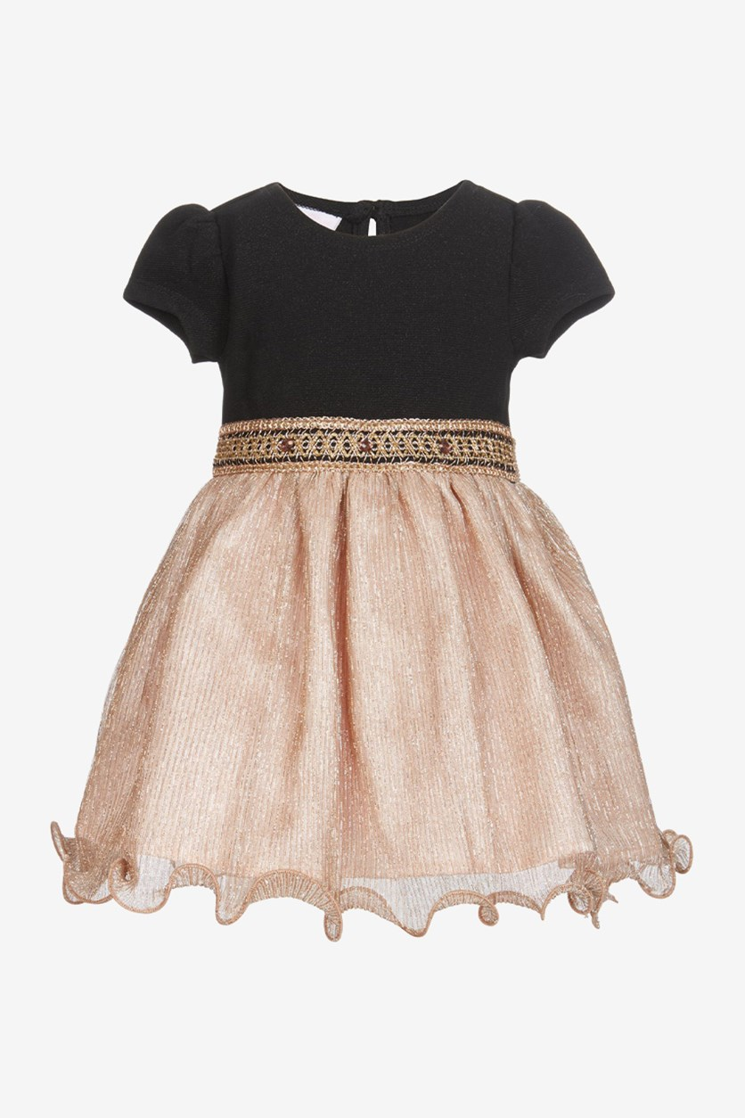 Baby Girls Knit-Bodice Metallic Dress, Black/Rose Gold